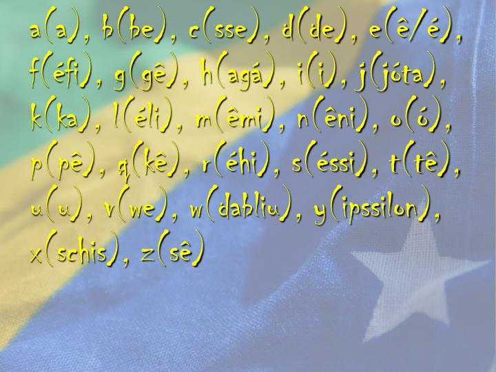 a(a), b(be), c(sse), d(de), e(ê/é), f(éfi), g(