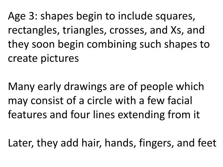 Age 3: shapes begin to include squares, rectangles, triangles, crosses, and Xs, and they soon