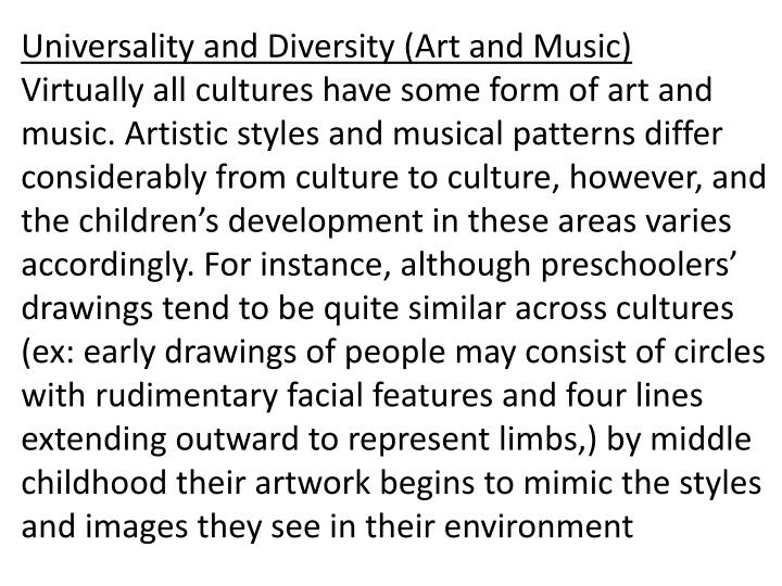 Universality and Diversity (Art and Music)