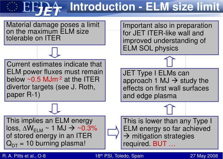 Introduction - ELM size limit