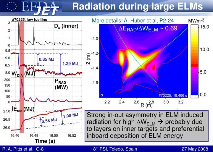 Radiation during large ELMs