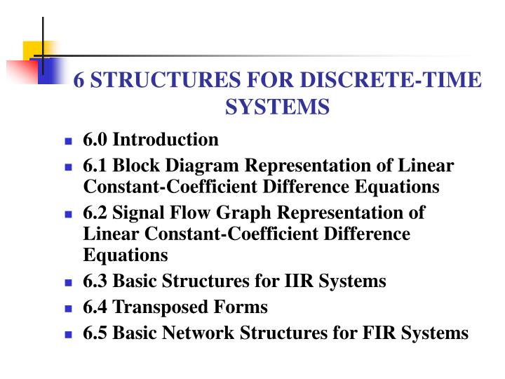6 structures for discrete time systems n.