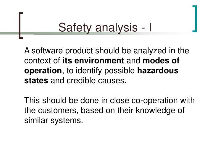 Safety analysis - I