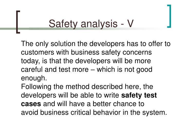 Safety analysis - V