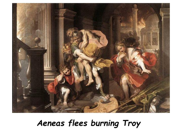 Aeneas flees burning Troy