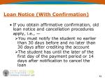 loan notice with confirmation