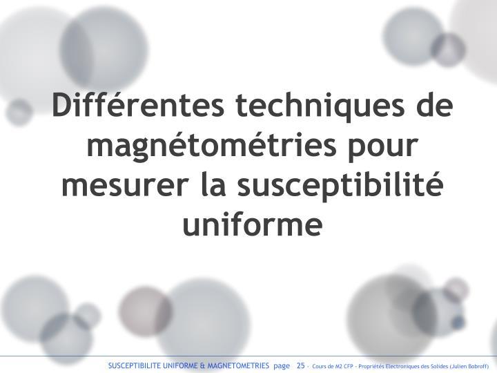 Différentes techniques de magnétométries pour mesurer la susceptibilité uniforme