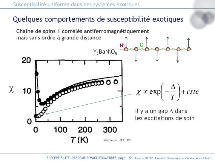 Susceptibilité uniforme dans des systèmes exotiques