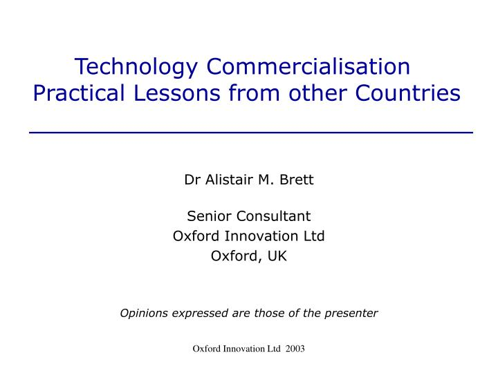 technology commercialisation practical lessons from other countries