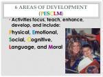 6 areas of development p e s c l m