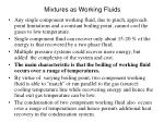 mixtures as working fluids