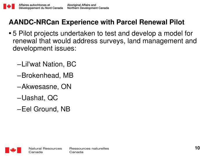 AANDC-NRCan Experience with Parcel Renewal Pilot
