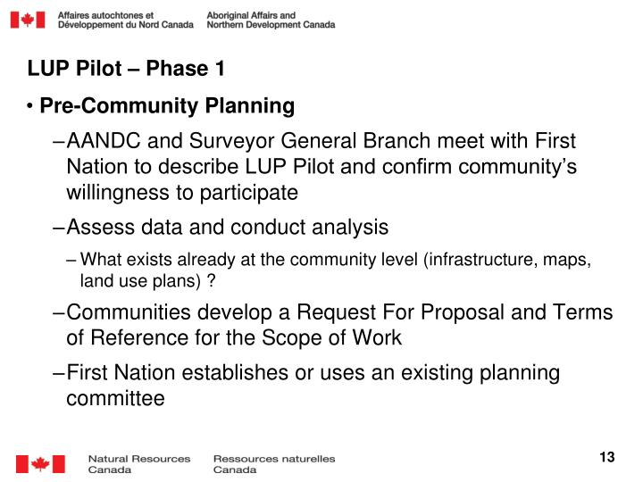 LUP Pilot – Phase 1