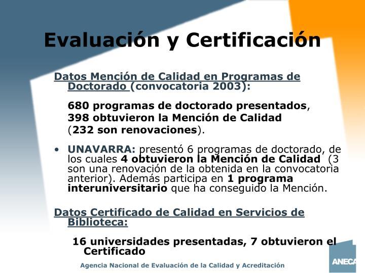 Evaluación y Certificación