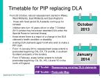 timetable for pip replacing dla