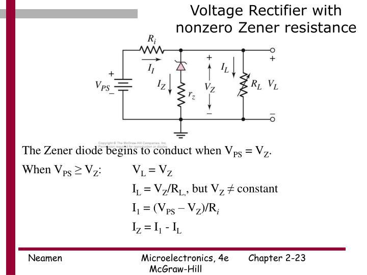 Voltage Rectifier with nonzero Zener resistance