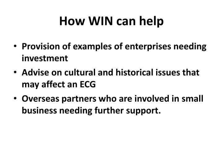How WIN can help