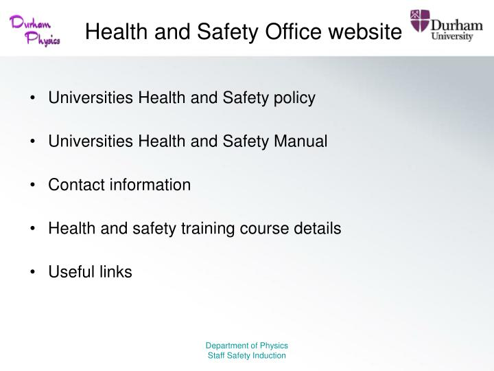 Health and Safety Office website