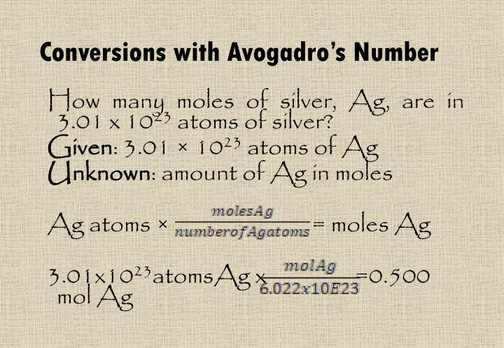 Conversions with Avogadro's Number