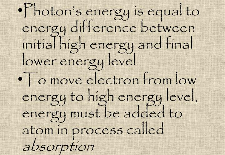 Photon's energy is equal to energy difference between initial high energy and final lower energy level