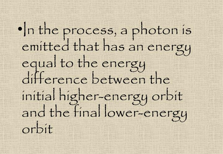 In the process, a photon is emitted that has an energy equal to the energy difference between the initial higher-energy orbit and the final lower-energy orbit