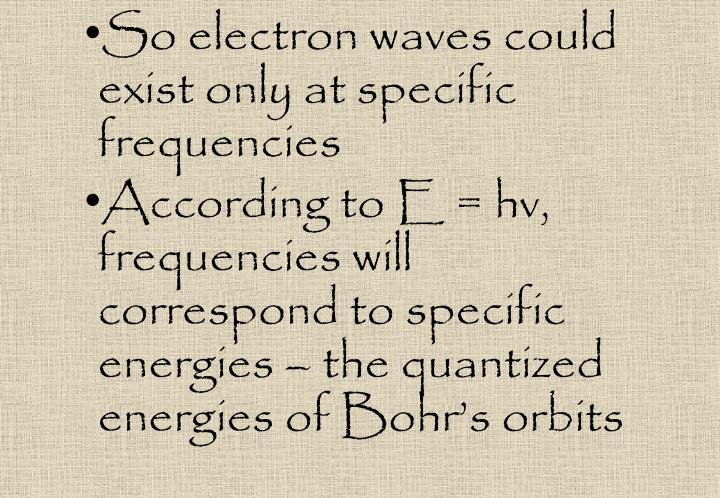 So electron waves could exist only at specific frequencies