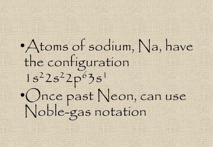 Atoms of sodium, Na, have the configuration