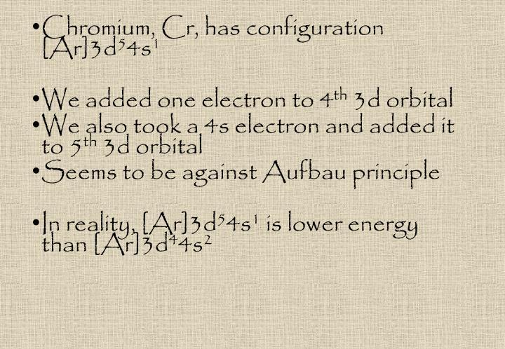 Chromium, Cr, has configuration [