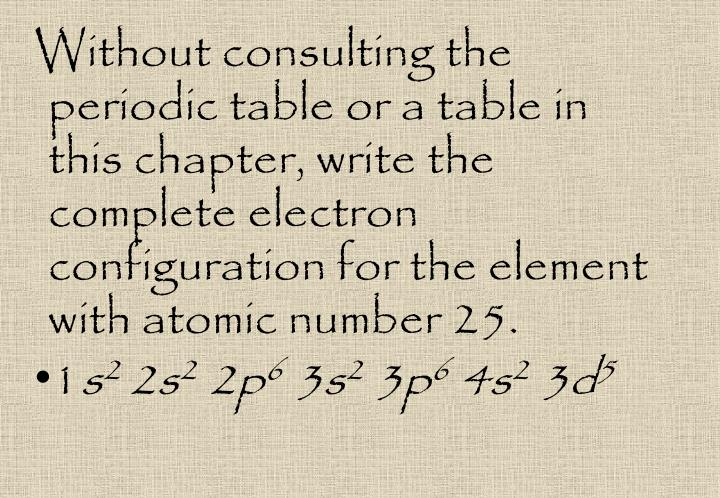 Without consulting the periodic table or a table in this chapter, write the complete electron configuration for the element with atomic number 25.