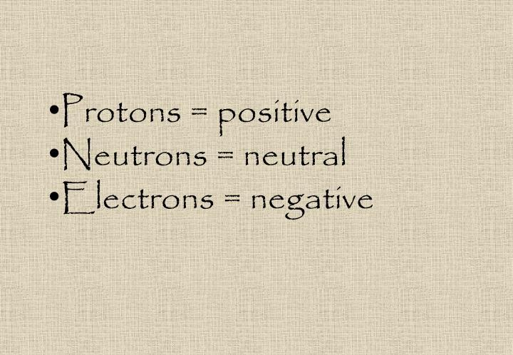 Protons = positive