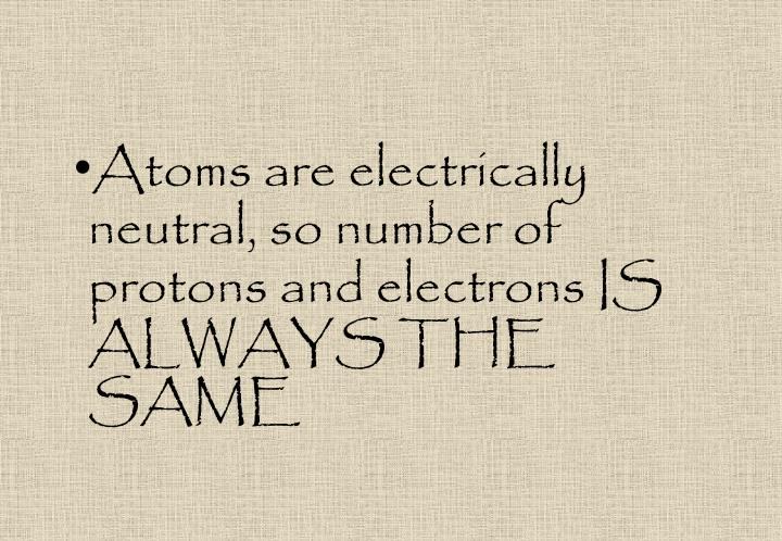 Atoms are electrically neutral, so number of protons and electrons IS ALWAYS THE SAME