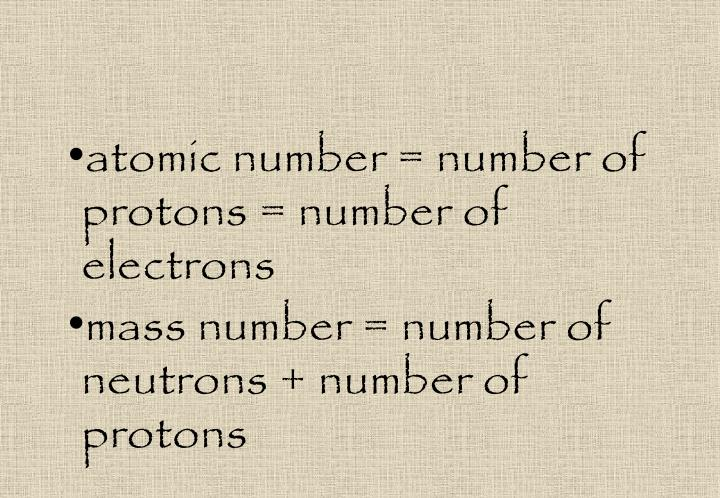 atomic number = number of protons = number of electrons