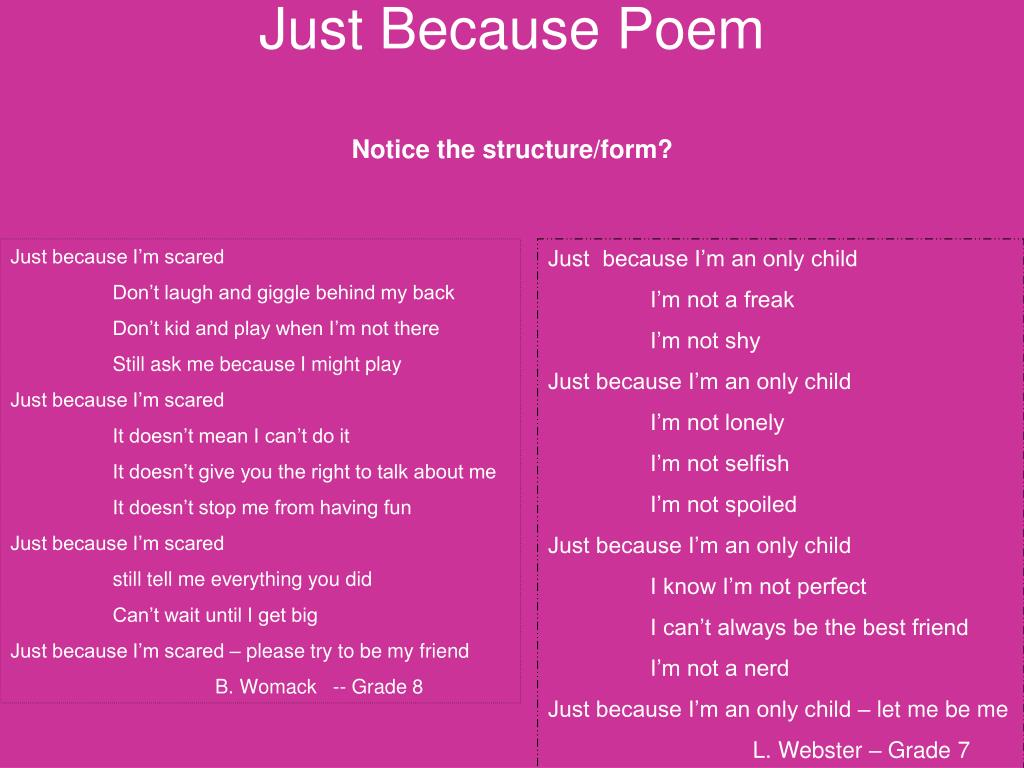 Ppt Just Because Poem Powerpoint Presentation Free
