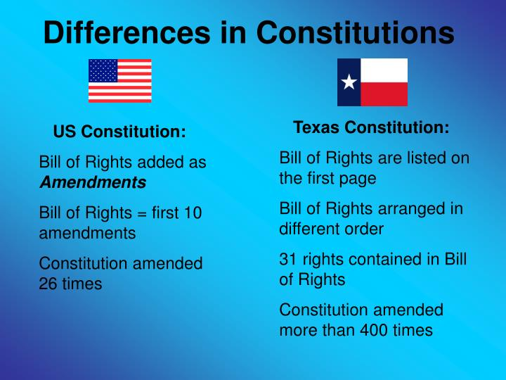Ppt the texas constitution powerpoint presentation id5504218 differences in constitutions ccuart Image collections