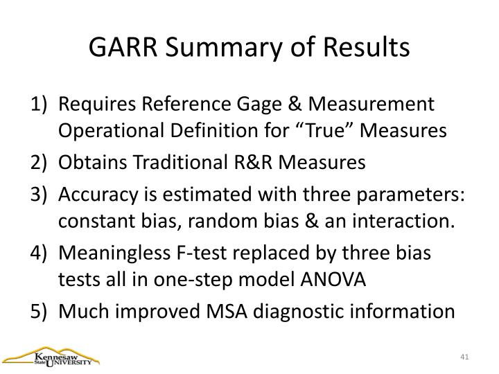 GARR Summary of Results