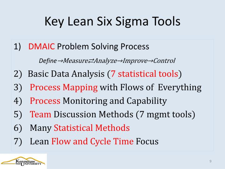 Key Lean Six Sigma Tools