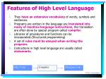 features of high level language