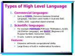 types of high level language