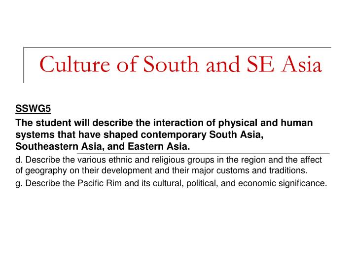 culture of south and se asia n.