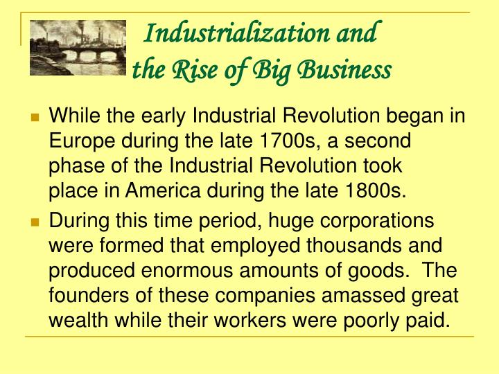 american industrialization 1877 1900 Start studying ch 16 american industry in the age of organization 1877-1900 learn vocabulary, terms  industrialization transformed the american economy.