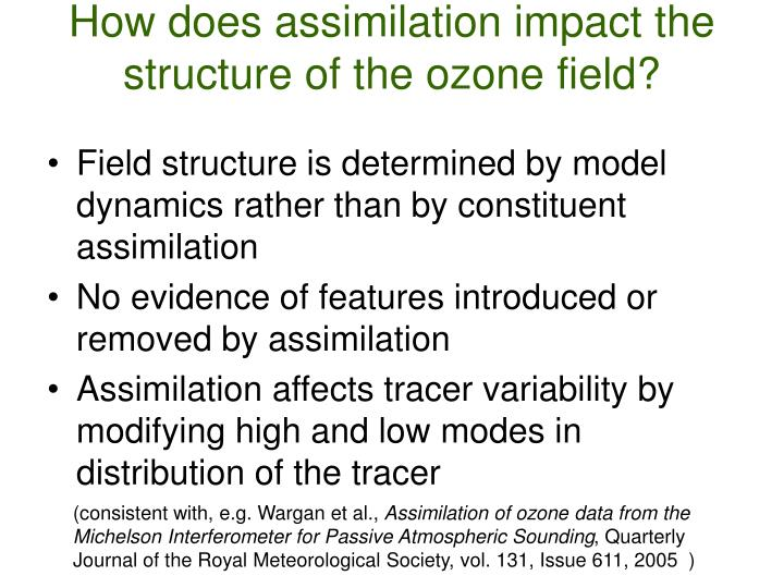 How does assimilation impact the structure of the ozone field?