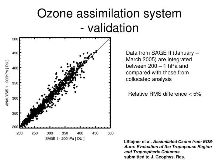 Ozone assimilation system validation