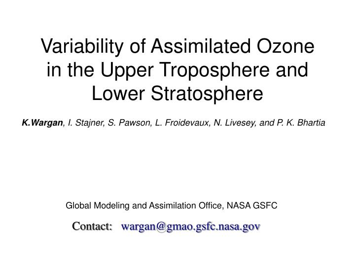 variability of assimilated ozone in the upper troposphere and lower stratosphere n.