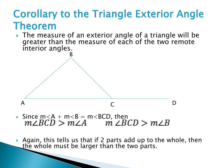 Ppt 5 6 inequalities in one triangle powerpoint for Exterior angle theorem