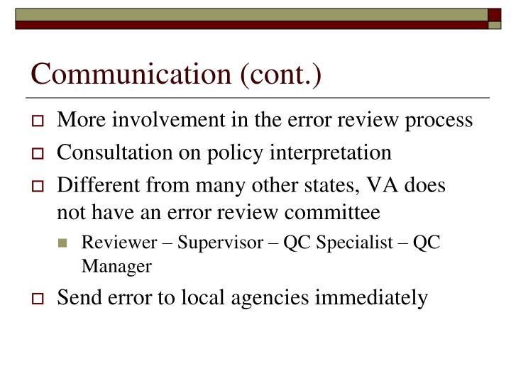 Communication (cont.)
