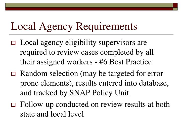 Local Agency Requirements
