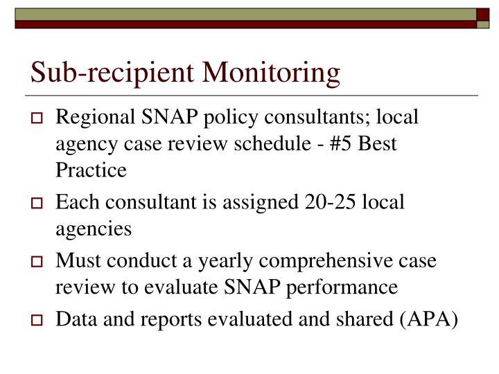 Sub-recipient Monitoring