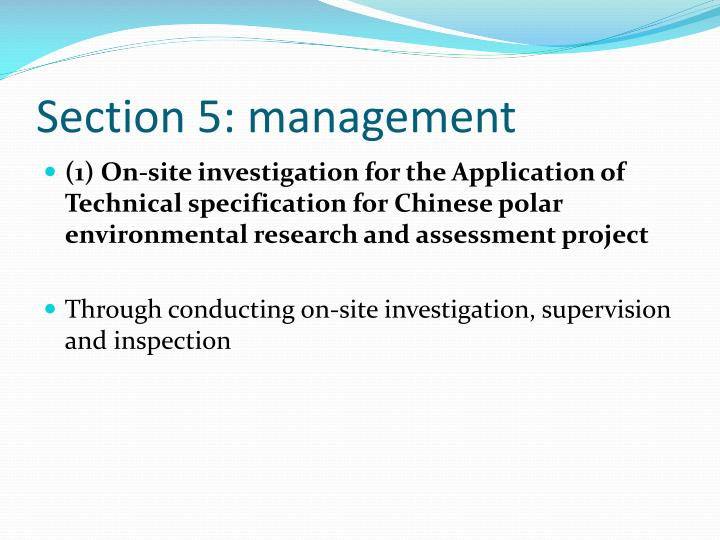 Section 5: management