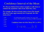 confidence interval of the mean