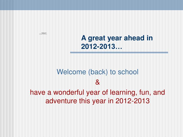 A great year ahead in